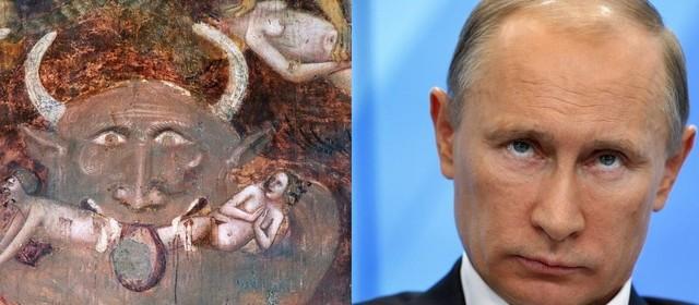 Пользователи интернета заметили сходство Путина с изображением Антихриста на фреске XIV века